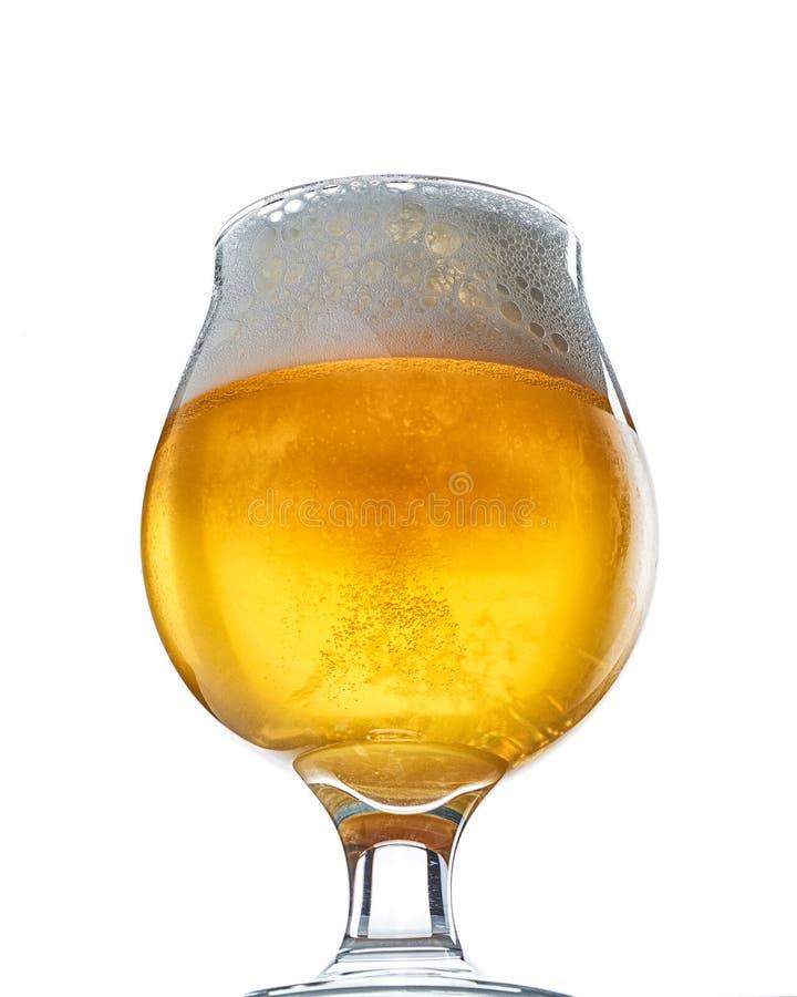 Calice della birra del mestiere su bianco fotografia stock