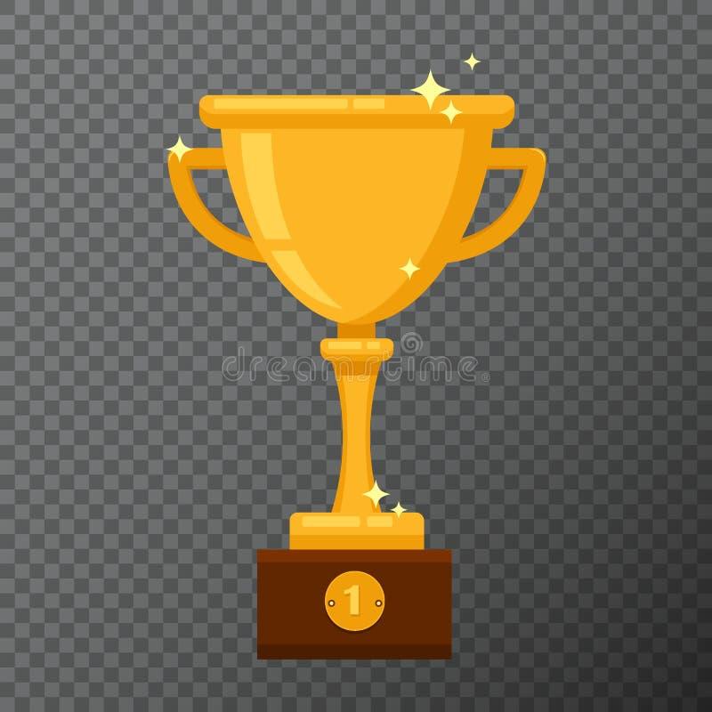 Calice dorato del campione su fondo Vector l'illustrazione con la tazza del premio fatta nella progettazione piana semplice royalty illustrazione gratis
