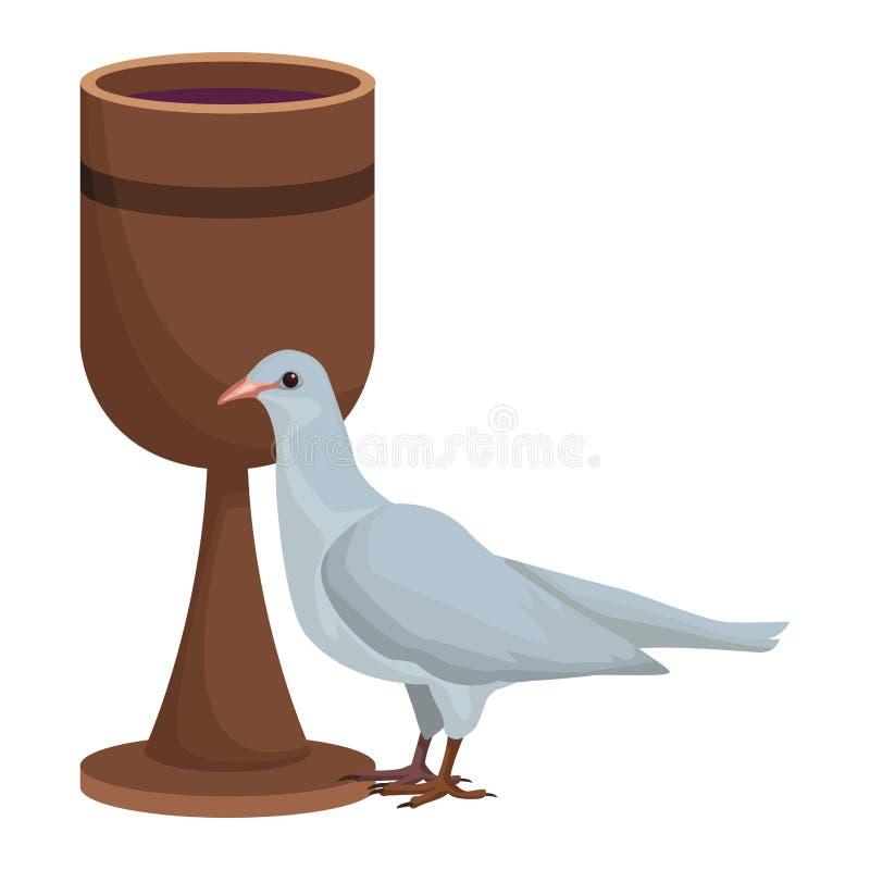Calice et colombe illustration de vecteur
