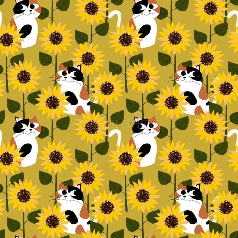 Calico cat in sunflower field seamless pattern royalty free illustration
