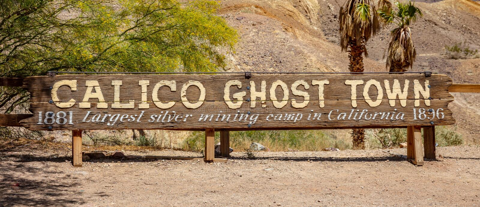 Calico ghost town theme park. Old silver mine vintage town. San Bernardino, Ca, USA. Calico ghost town California, USA. May 29, 2019. Old former silver mining stock photography