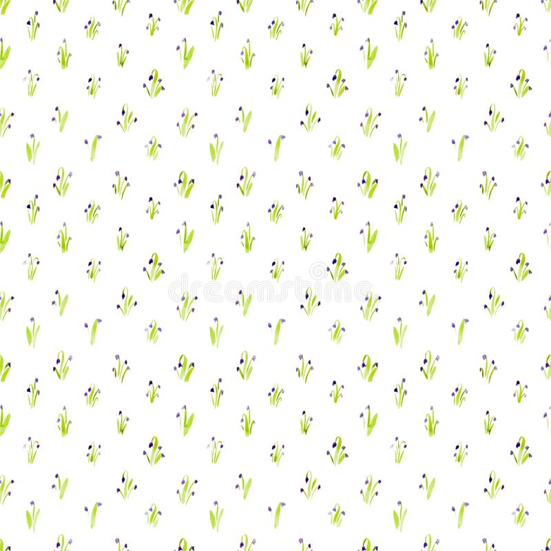 Calico watercolor bluebell pattern. Comely seamless cute small flowers for fabric design. Calico pattern in country stile. Trendy handpainted millefleurs royalty free illustration