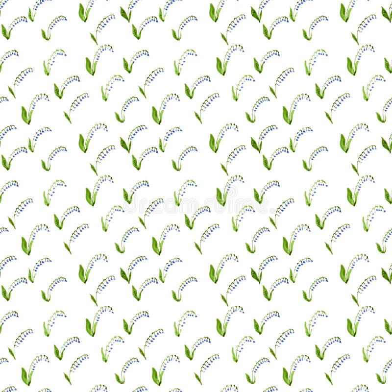 Calico watercolor lily of the valley pattern. royalty free illustration