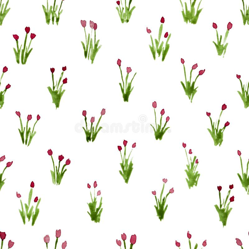 Calico watercolor pattern. Classy seamless cute small flowers for fabric design. Calico pattern in country stile. Trendy handpainted millefleurs royalty free stock image