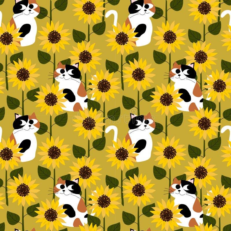 Calicokat in het naadloze patroon van het zonnebloemgebied royalty-vrije illustratie