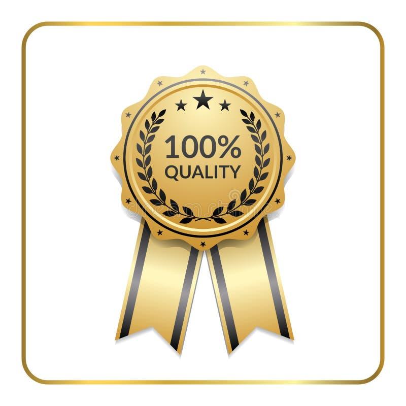 Calidad de la guirnalda del laurel del icono del oro de la cinta del premio ilustración del vector
