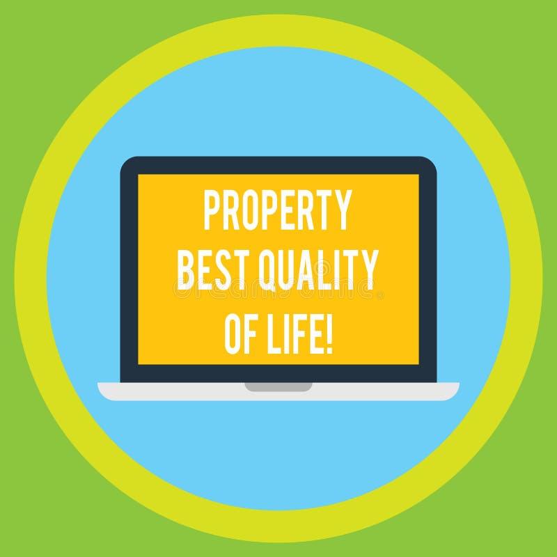 Calidad de vida de la propiedad del texto de la escritura la mejor Concepto que significa comprando su propio monitor del ordenad libre illustration