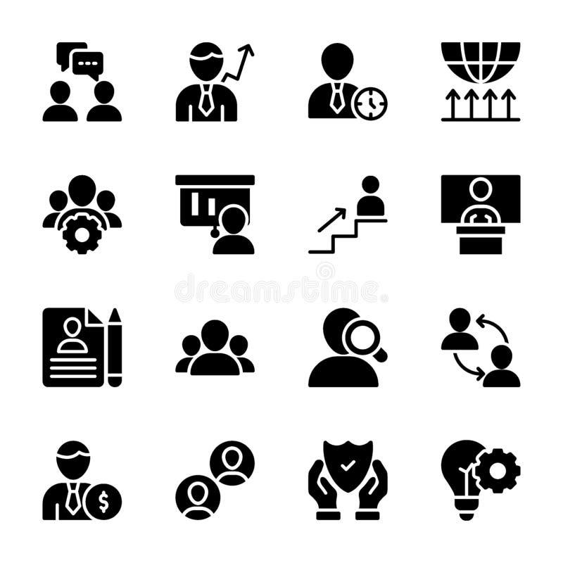 Calidad personal, iconos sólidos de la gestión del empleado ilustración del vector
