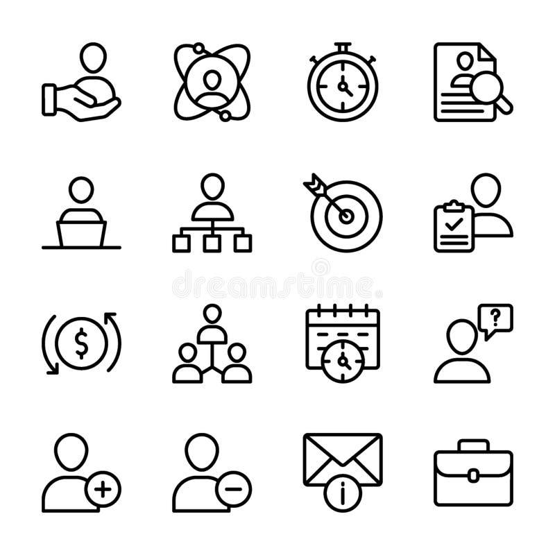 Calidad personal, línea vectores de la gestión del empleado stock de ilustración