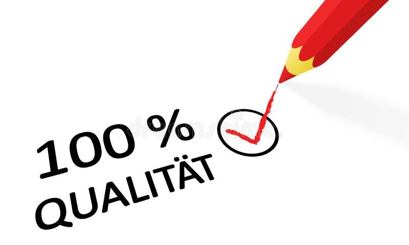 calidad roja 100% del lápiz y del texto stock de ilustración