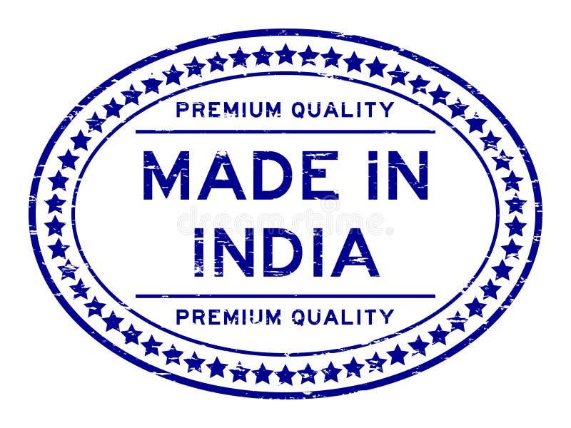 Calidad superior azul del Grunge hecha en el sello de goma oval de la India en el fondo blanco libre illustration