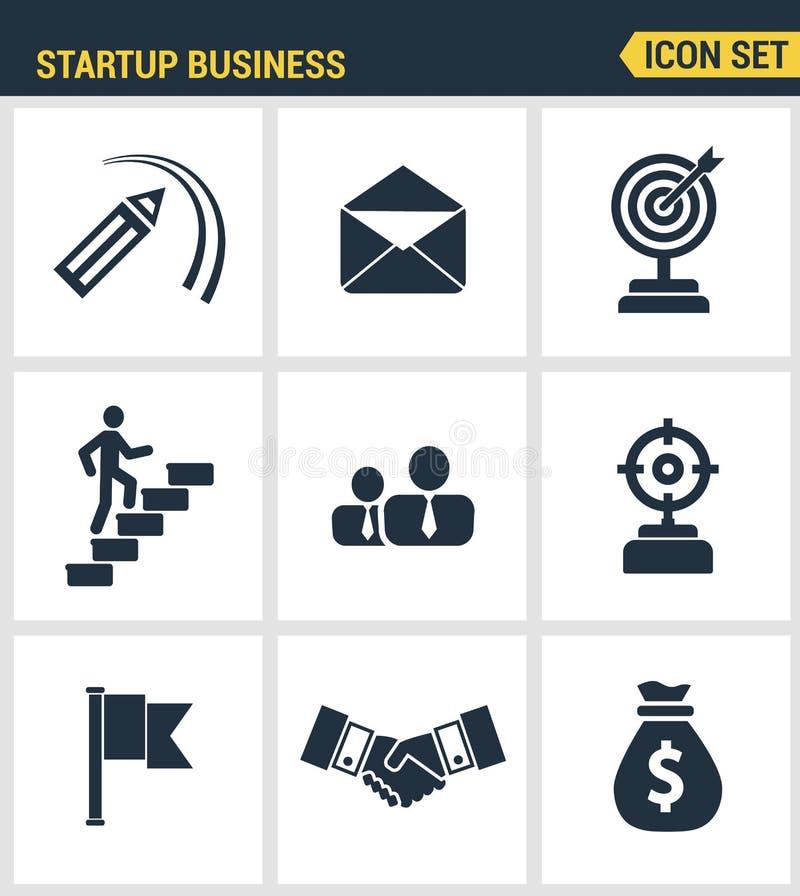 Calidad superior fijada iconos del nuevo producto de lanzamiento del negocio y del lanzamiento en mercado Symb plano del estilo d ilustración del vector