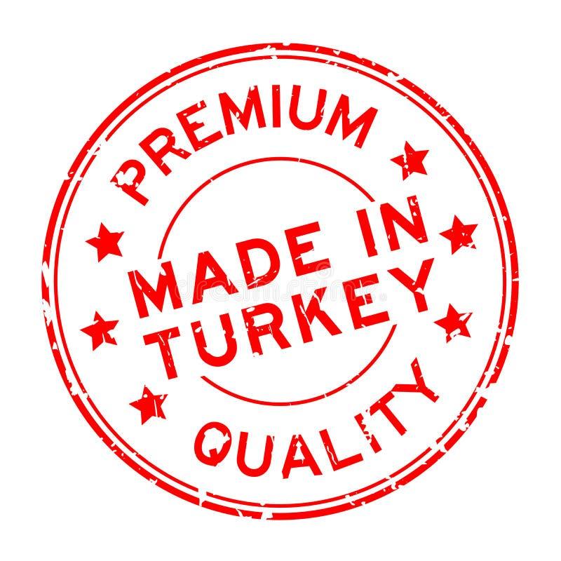 Calidad superior roja del Grunge hecha en sello de goma de la ronda de Turquía en el fondo blanco stock de ilustración
