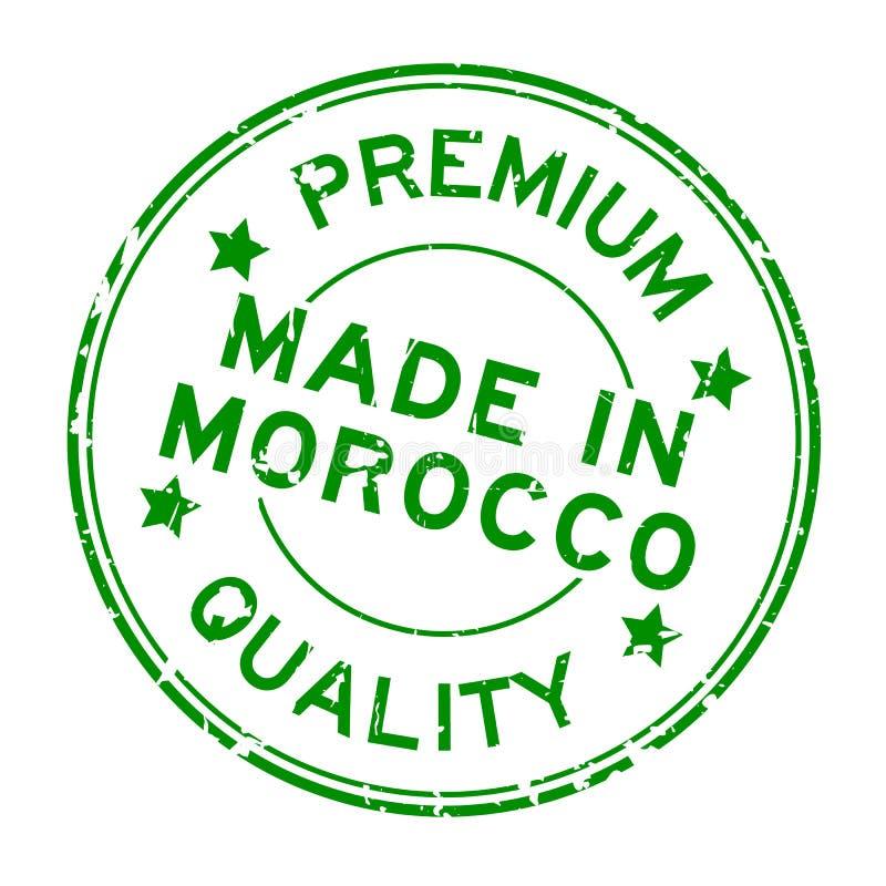 Calidad superior verde del Grunge hecha en sello de goma de la ronda de Marruecos en el fondo blanco ilustración del vector