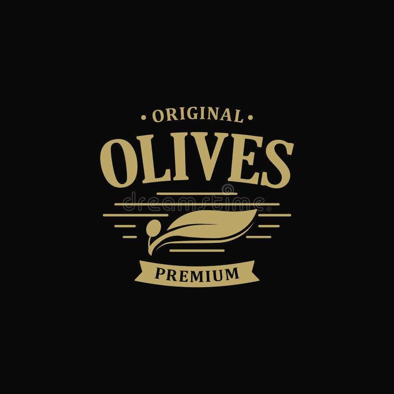 Calidad virginal adicional del premio del aceite de oliva Etiqueta del vintage de la rama de aceitunas Plantilla verde retra del  libre illustration
