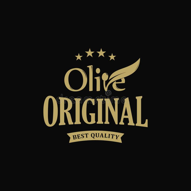 Calidad virginal adicional del premio del aceite de oliva Etiqueta del vintage de la rama de aceitunas Plantilla verde retra del  stock de ilustración