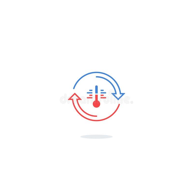 Caliente el icono, el control de la temperatura, el aislamiento o el logotipo del refrigerador stock de ilustración