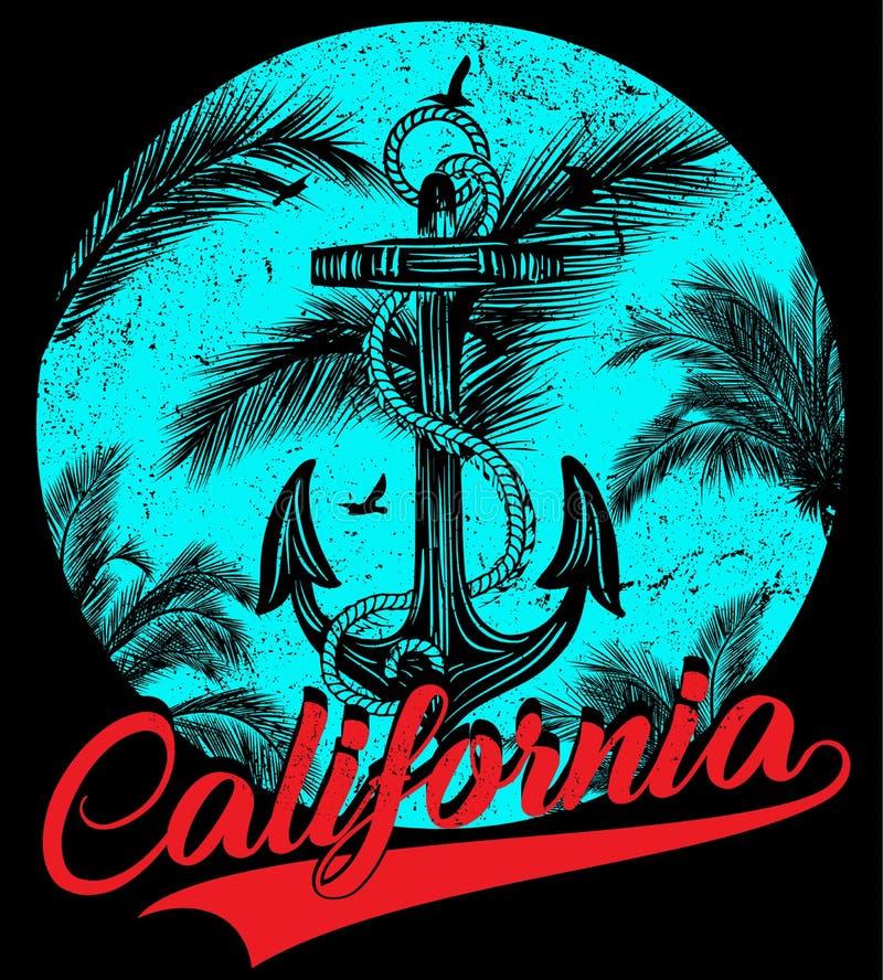Califórnia - conceito da ilustração do vetor no chiqueiro do gráfico do vintage ilustração royalty free