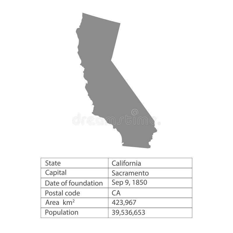 califórnia Estados de território de América no fundo branco Estado separado Ilustração do vetor ilustração do vetor