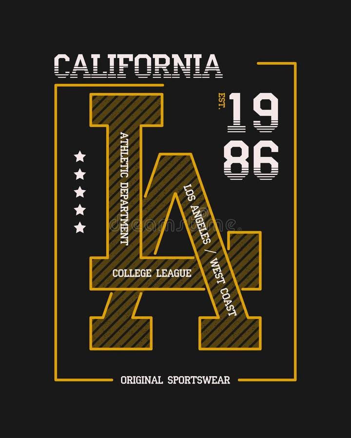 Califórnia, gráficos da tipografia do slogan do LA para o t-shirt Cópia da faculdade de Los Angeles para o fato Projeto atlético  ilustração do vetor