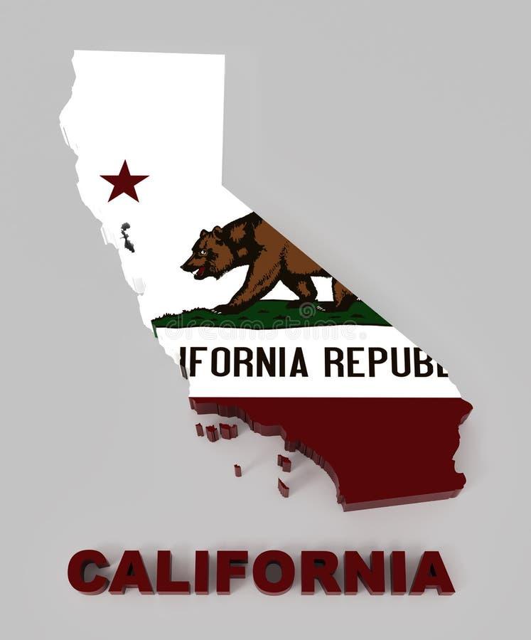 Califórnia, mapa com bandeira, com trajeto de grampeamento ilustração do vetor