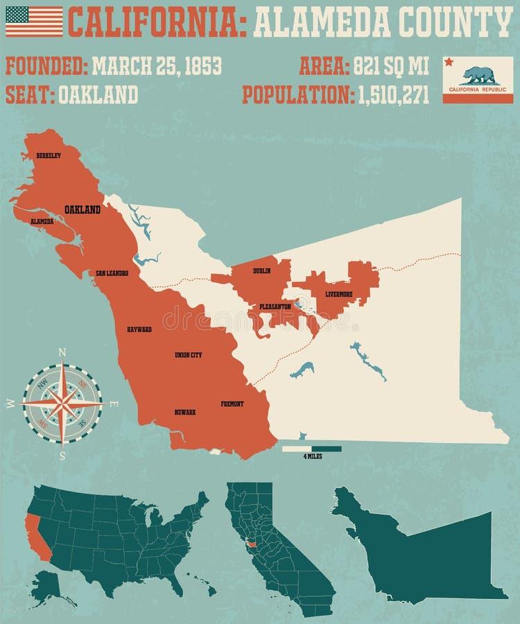 Califórnia: Mapa de Alameda County ilustração stock