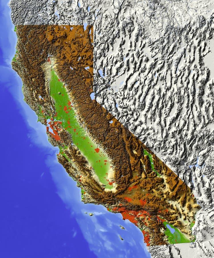 Califórnia, mapa de relevo ilustração royalty free