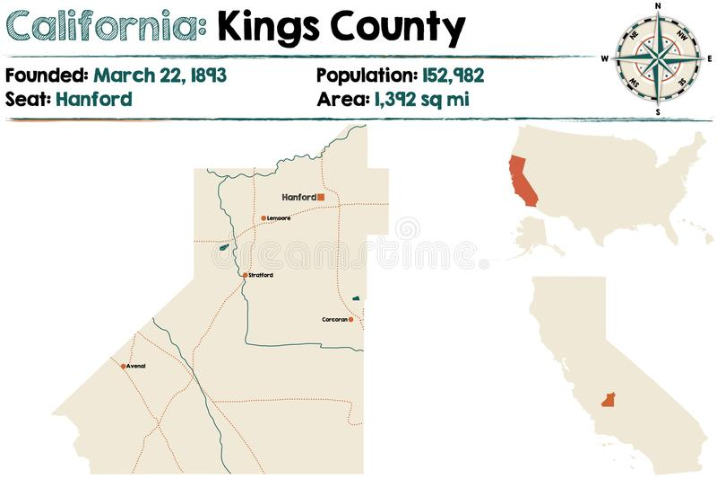 Califórnia: Mapa do Condado de Kings ilustração royalty free