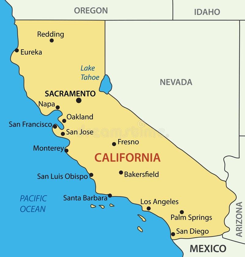 Califórnia - mapa do vetor do estado ilustração do vetor