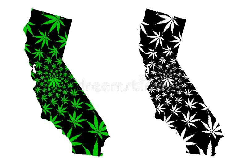 Califórnia - o mapa é folha projetada do cannabis ilustração royalty free