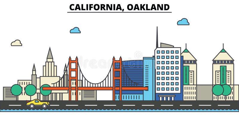 Califórnia, Oakland Skyline da cidade ilustração stock