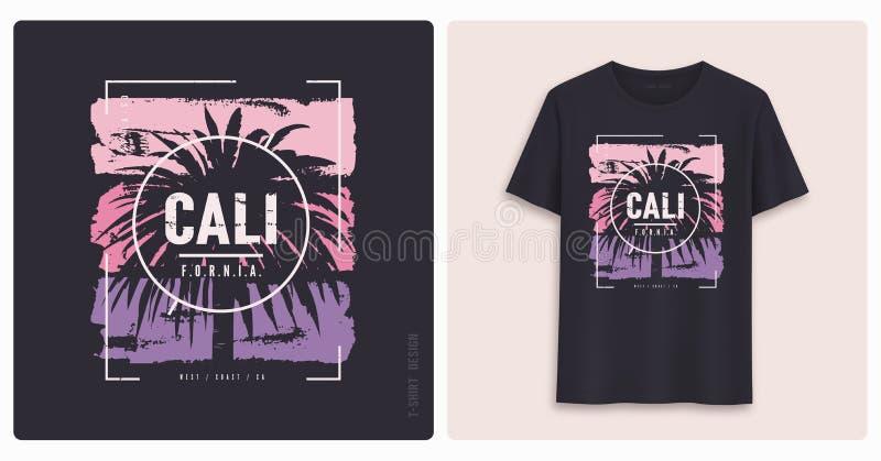 califórnia Projeto gráfico do t-shirt, cópia denominada grunge ilustração stock