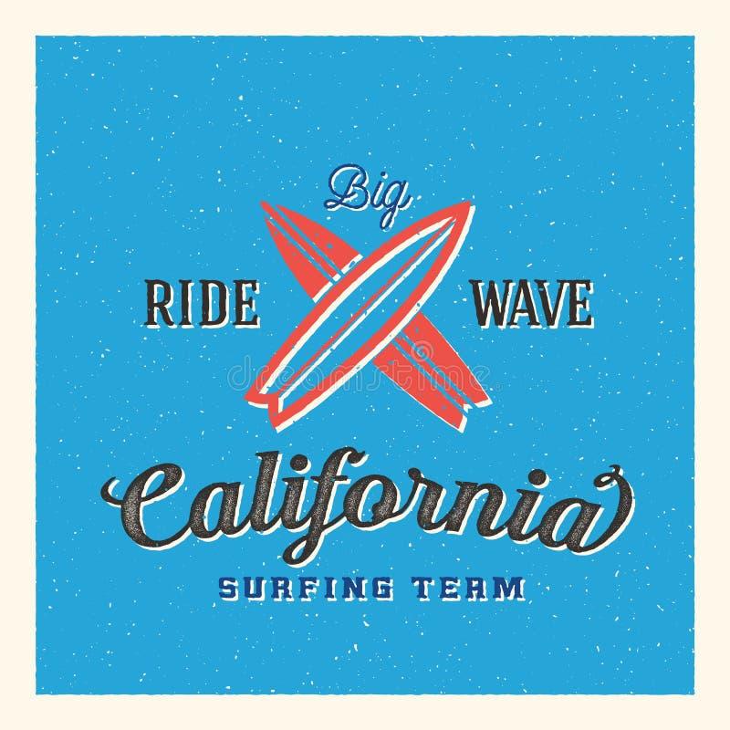 Califórnia que surfa Team Abstract Vetora Label ou ilustração stock