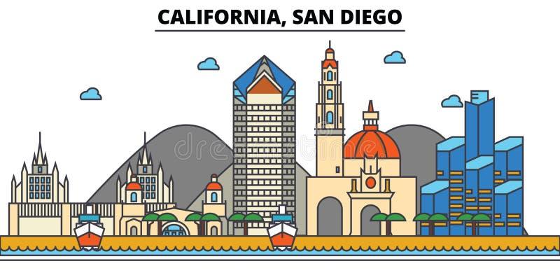 Califórnia, San Diego Skyline da cidade ilustração stock