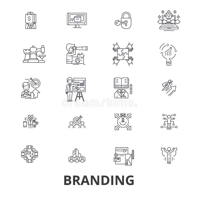 Calificando, comercializando, haciendo publicidad, idea creativa, marca, mercado, línea iconos de la promoción Movimientos Editab ilustración del vector