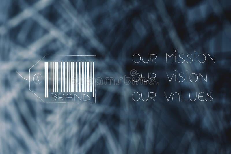 Califique la etiqueta con el texto de la visión de los valores de la misión al lado de él fotos de archivo libres de regalías