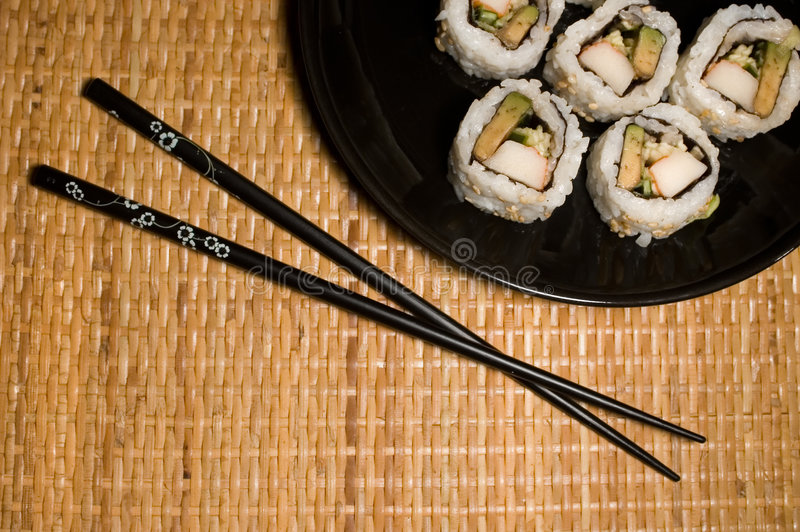californaiplattan rullar sushi royaltyfri fotografi
