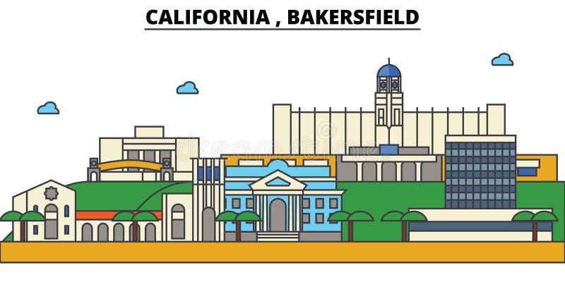 Californië, Bakersfield De architectuur van de stadshorizon royalty-vrije illustratie