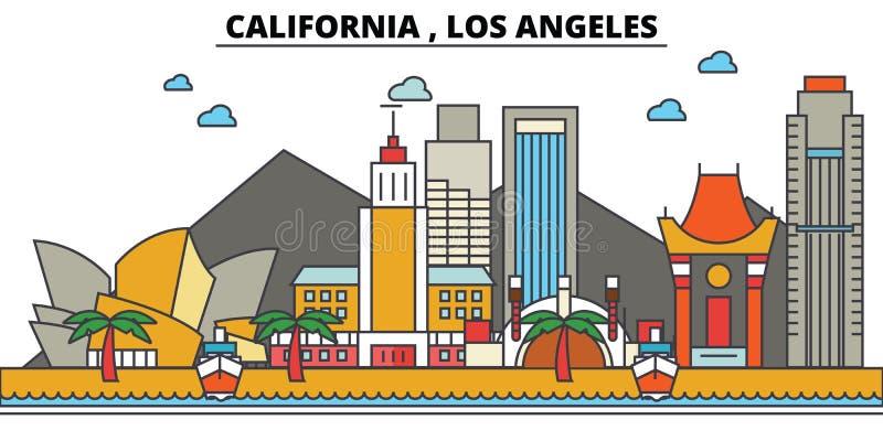 Californië, Los Angeles De Horizon van de stad royalty-vrije illustratie
