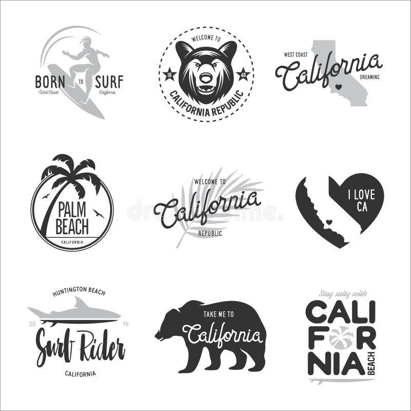 Californië verwante de grafiekreeks van de t-shirt uitstekende stijl Vector illustratie vector illustratie
