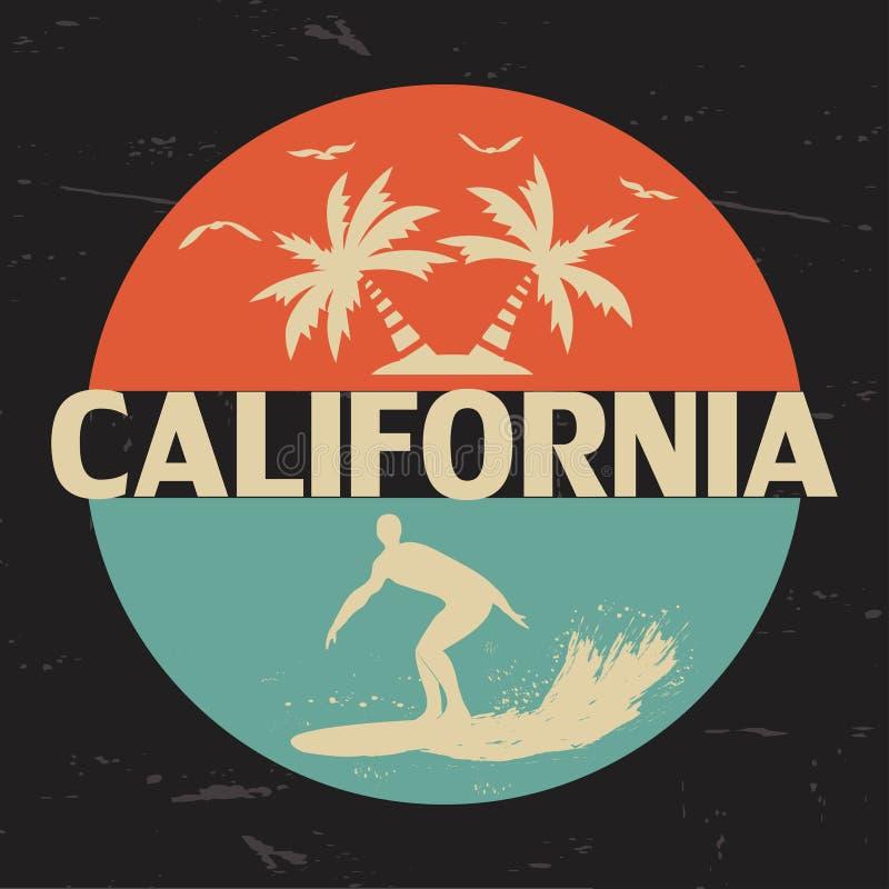 california Оформление для дизайна одежды, футболок иллюстрация штока