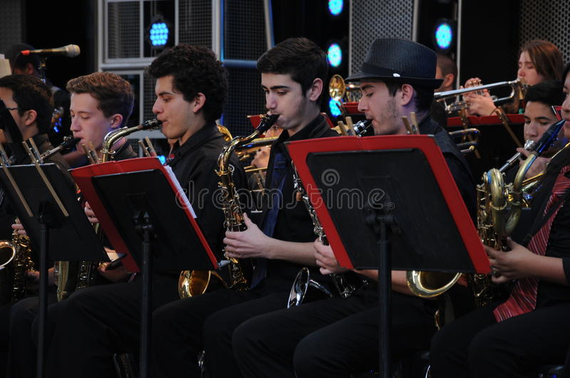 California Adventure big band entertainment. Closer view of some of the teens from a Local high school band performing at Disneys amusement park stock images