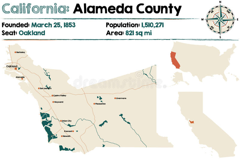 California - Alameda county map royalty free illustration