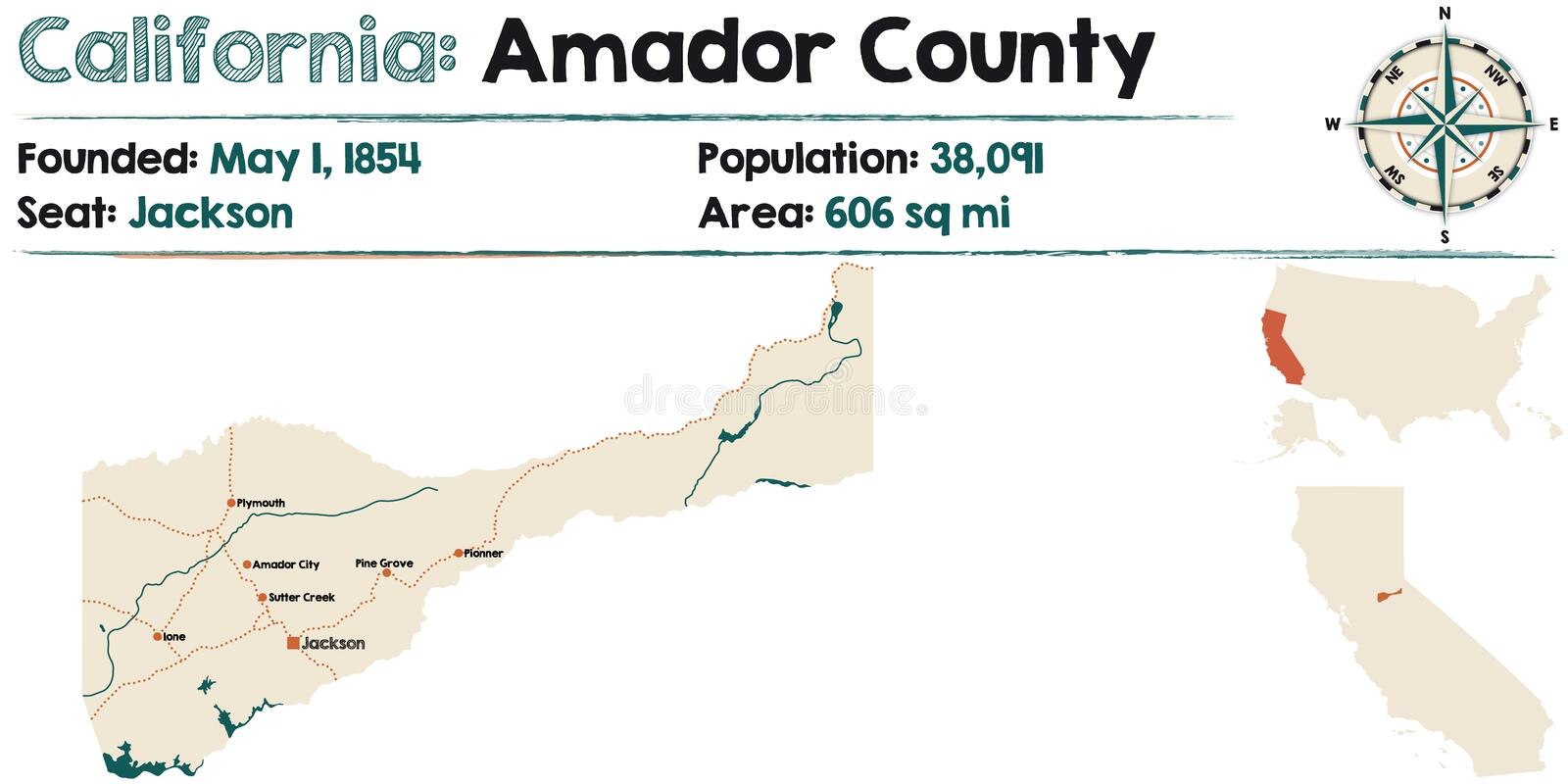California - Amador county map stock illustration