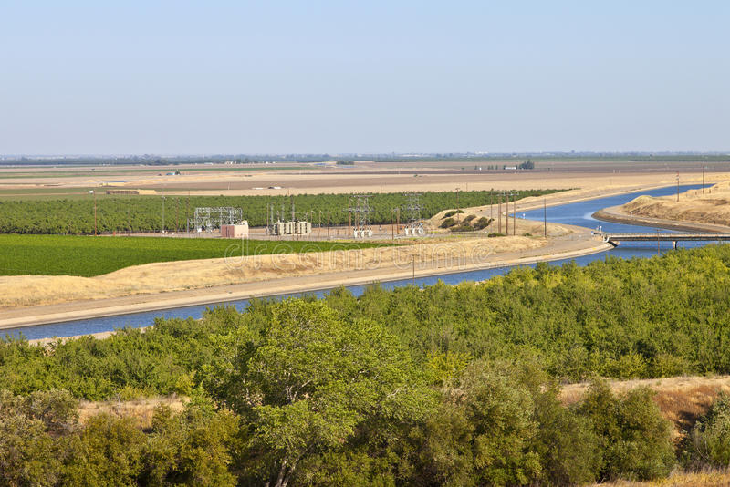 California aquaduct and farmlands. California aquaduct in a valley surrounded by farmlands royalty free stock images