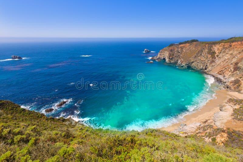 California beach in Big Sur in Monterey County Route 1. California beach near Bixby bridge in Big Sur in Monterey County along State Route 1 US royalty free stock image