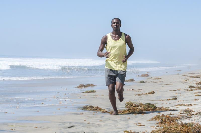 California beach run. Brown algae kelp washed ashore litters a California beach as a tall lean African American man runs along the surf royalty free stock photo