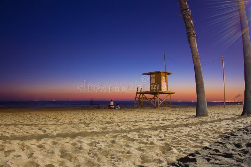 California Beach Sunset. Night scene as sunsets on Southern California beach royalty free stock image