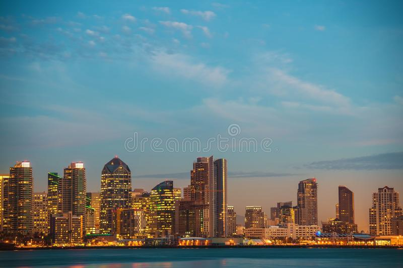 California City of San Diego. United States. Bay and the Skyline royalty free stock photos