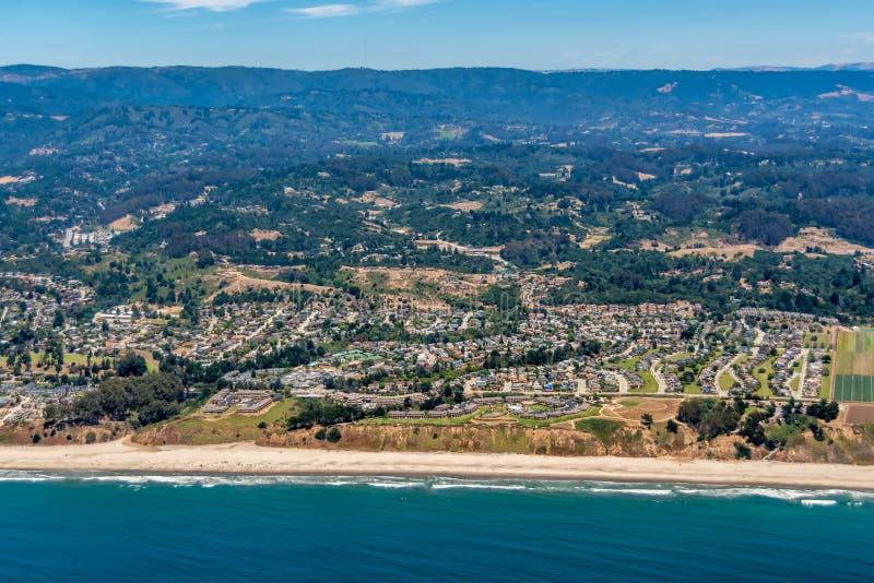 California Coast at the City of Aptos Aerial View. The aerial view of California coast with the city of Aptos, close to the city of Santa Cruz stock photo